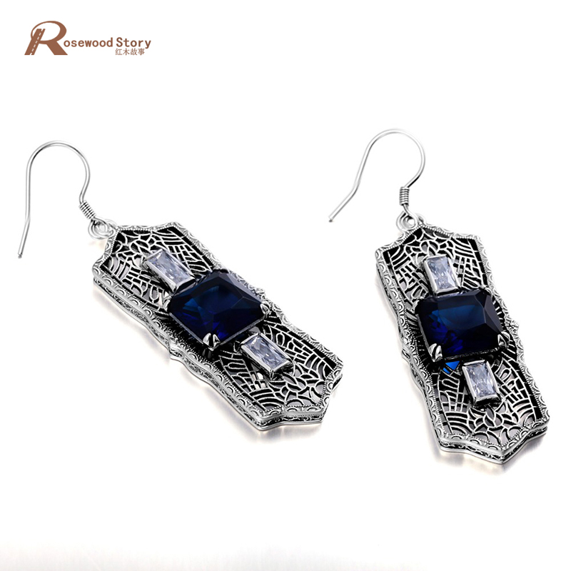 цена на luxury socialite wedding blue cz stone crystal earrings soild 925 sterling silver earrings hollow out vintage style for women