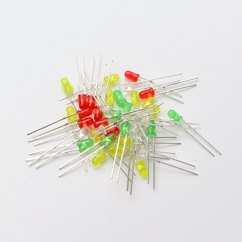 100 Pcs Universal Led Diode Kit Mixed Color Red White Yellow Green