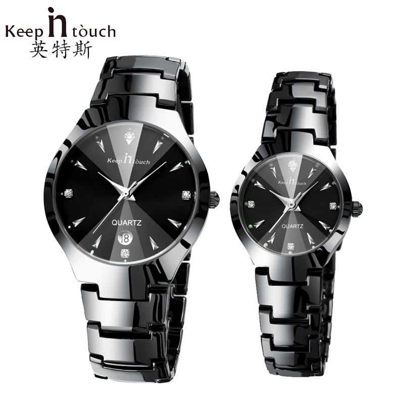 Fashion Black Watch Men Luminous Calendar Diamond Watches Quartz Women Waterproof Luxury Clock For Lovers Montre Homme With Box