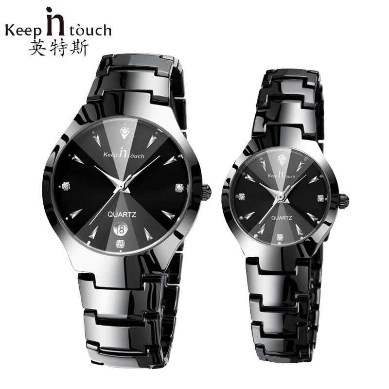 Fashion Black Watch Men Luminous Calendar Diamond Watches Quartz Women Waterproof Luxury Clock For Lovers Montre Homme With Box