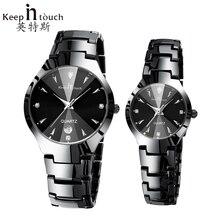 Moda Negro Hombres Reloj Calendario Luminoso Relojes de Diamantes Mujeres Impermeable Del Reloj De Lujo Para Los Amantes de Cuarzo Montre Homme Con Caja