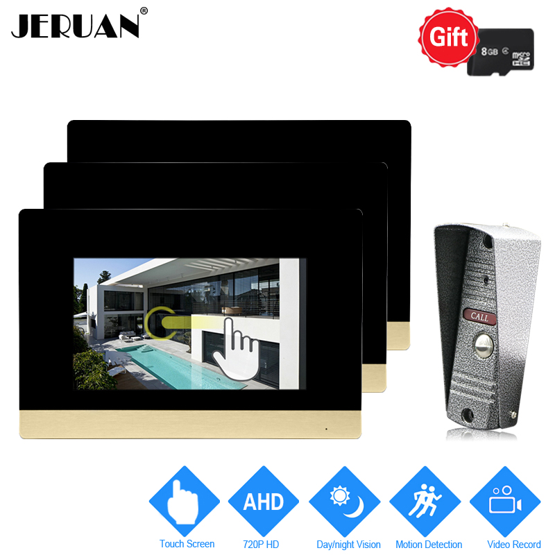 JERUAN 720P AHD Motion Detection 7`` Touch Screen Video Door Phone Doorbell Intercom System 3 Record Monitor + HD IR Mini Camera jeruan 720p ahd motion detection 7 touch screen video door phone doorbell intercom system 2 record monitor hd ir mini camera