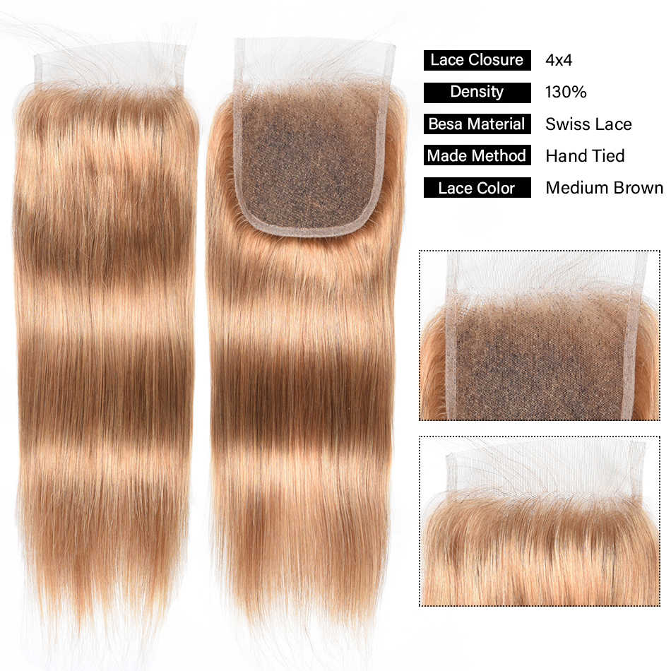27# Lace Closure Pre-Colored 100% Human Hair 4x4inch Brazilian Human Hair Blonde Lace Closure Chic Crown Straight No Shedding