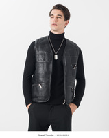 2019 men's leather vest sheep leather vest thickening warm winter fur vest