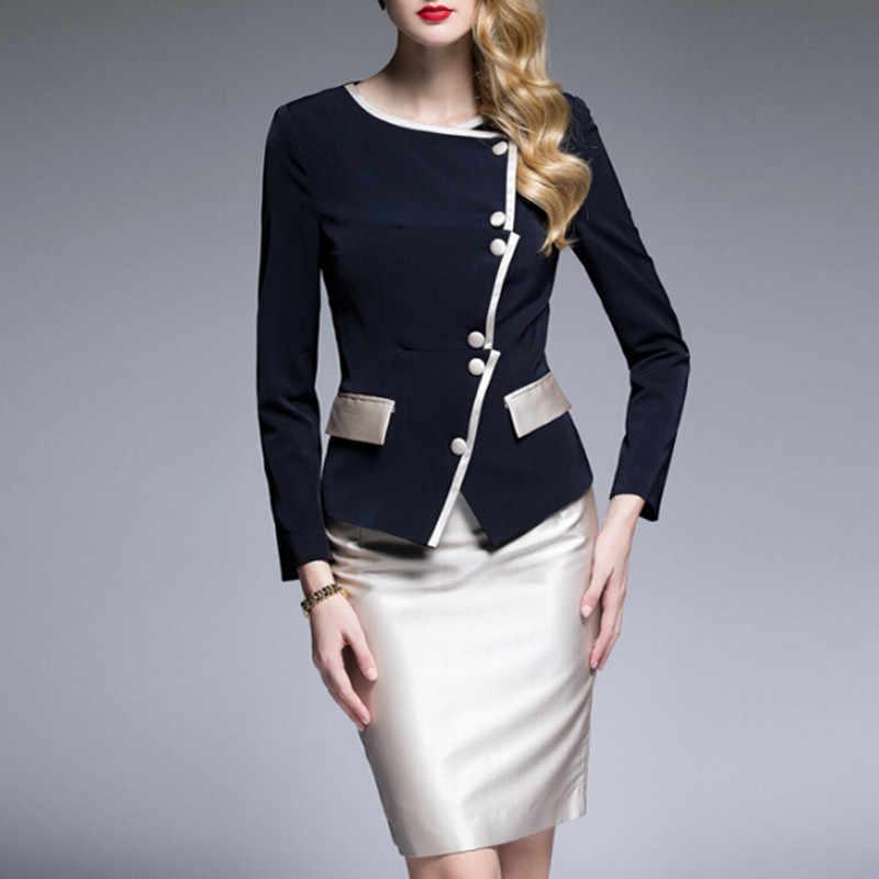 bec22e11eae6b Women Dress Suit Vintage Retro Elegant Dress With Jacket Blazer Slim Office  Ladies Work Formal Business Wear OL Dress Suit Set