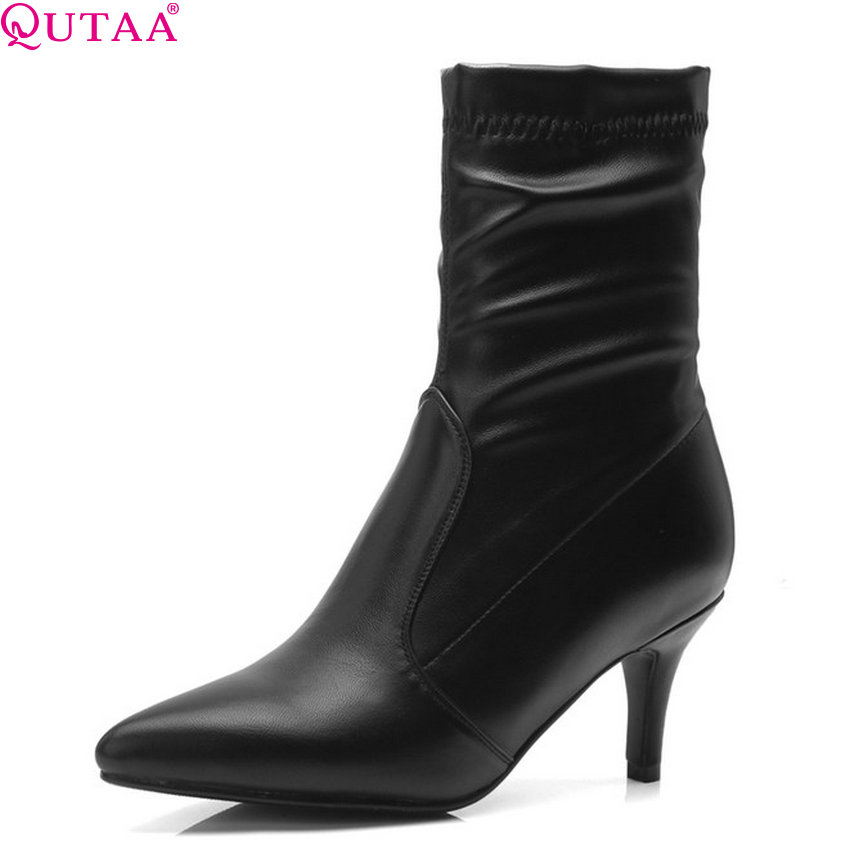 QUTAA 2019 Sock Boots Pu Leather Fashion Women Mid Calf Boots Thin Hgh Heel Winter Shoes Women Motorcycle Boots Big Size 34-43 qutaa national style winter women shoes genuine leather flat heel mid calf boot zipper women motorcycle snow boots size 34 40