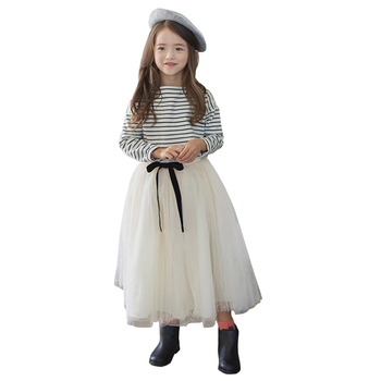 2020 Summer Girls Clothing Set Teenager Suits Children Kids Striped Full Sleeved T-shirts Long Tutu Skirt 2 Piece Sets Age 4-12