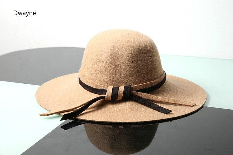 61e2522dd2061 Aliexpress.com   Buy Brand New High End Australian Wool Women Hat Korean  Dome Plain Bow Winter Caps Big Brim Casual Wool Fedora Hat Female Caps from  ...