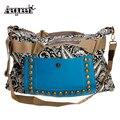 New National Women Trendy Shoulder Messenger Bags Girls Vintage PU Leather Handbag Hobo Satchel Large Rivet Bag Bolsa Feminine
