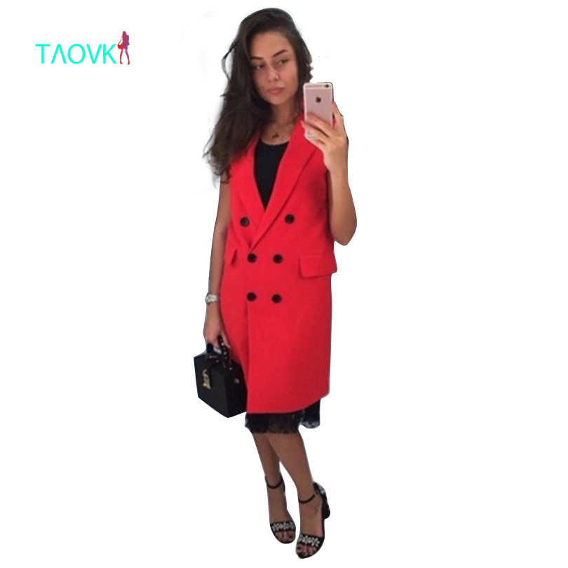 TAOVK 2017 new fashion Russian style women Autumn Vest Red White Pink and Yellow lapel solid