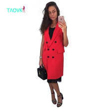 TAOVK 2017 new fashion Russian style women Autumn Vest Red White Pink and Yellow lapel solid color vest coat
