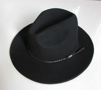 New 100% Wool Waterproof Fedoras Hat Men's Wrinkle free Equestrian Hat Wide Brim Knight Cowboy Wool Cap Gentleman Hat B 8121