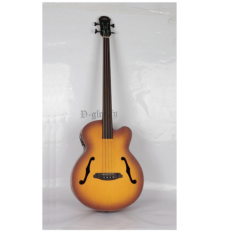 high quality 4 string fretless jazz acoustic electric bass guitar free shipping