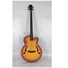 Высокое качество 4 струны fretless jazz акустическая-электрическая бас-гитара бесплатная доставка