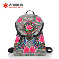 National Ethnic double shoulders backbags canvas Embroidery female pumping rope lock  wholesale retail schoolbag teenagers adlut