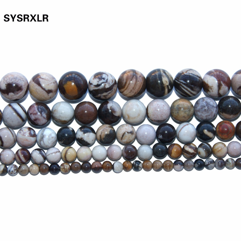 Wholesale Australia Zebra Jaspers Natural Stone Beads Round Shape Beads For Jewelry Making DIY bracelet 6 8 10 12 MM Strand in Beads from Jewelry Accessories