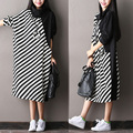 New--2016 female new autumn fashion stripe all-match midguts batwing sleeve dress plus size turtleneck basic dress