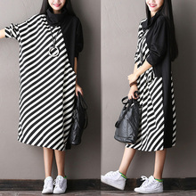 New–2016 female new autumn fashion stripe all-match midguts batwing sleeve dress plus size turtleneck basic dress