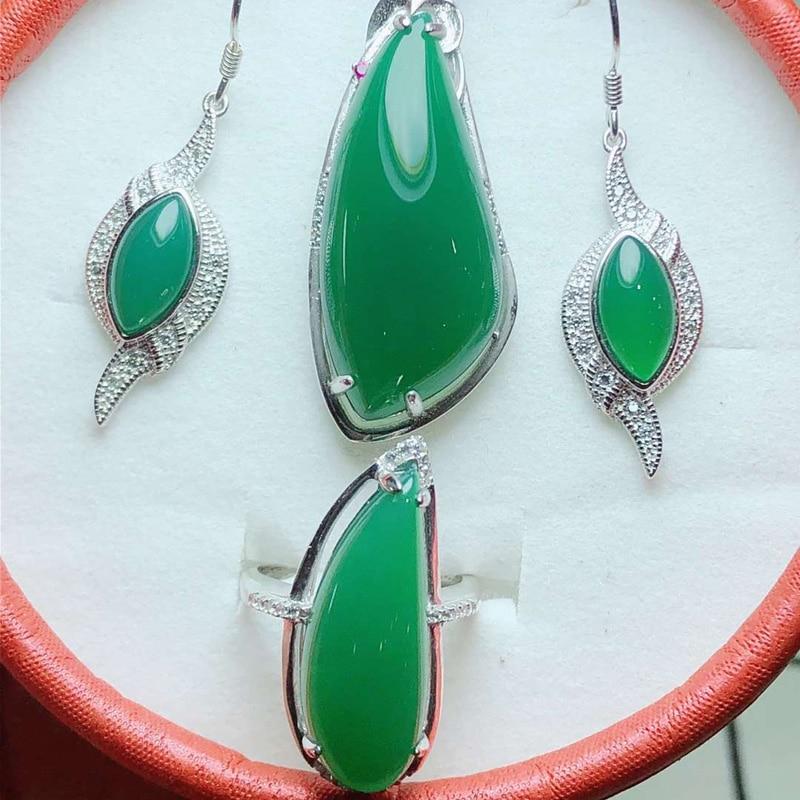 Ensemble de bijoux naturel Jade Medullary collier/boucles d'oreilles/bague femmes argent 925 bijoux