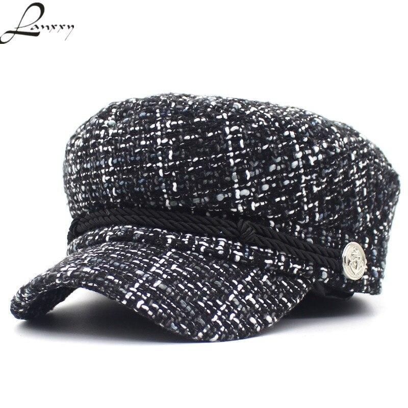 New Fashion Military Hat Women Vintage Flat Cap Female Gorras Casquette Hats Military Cap
