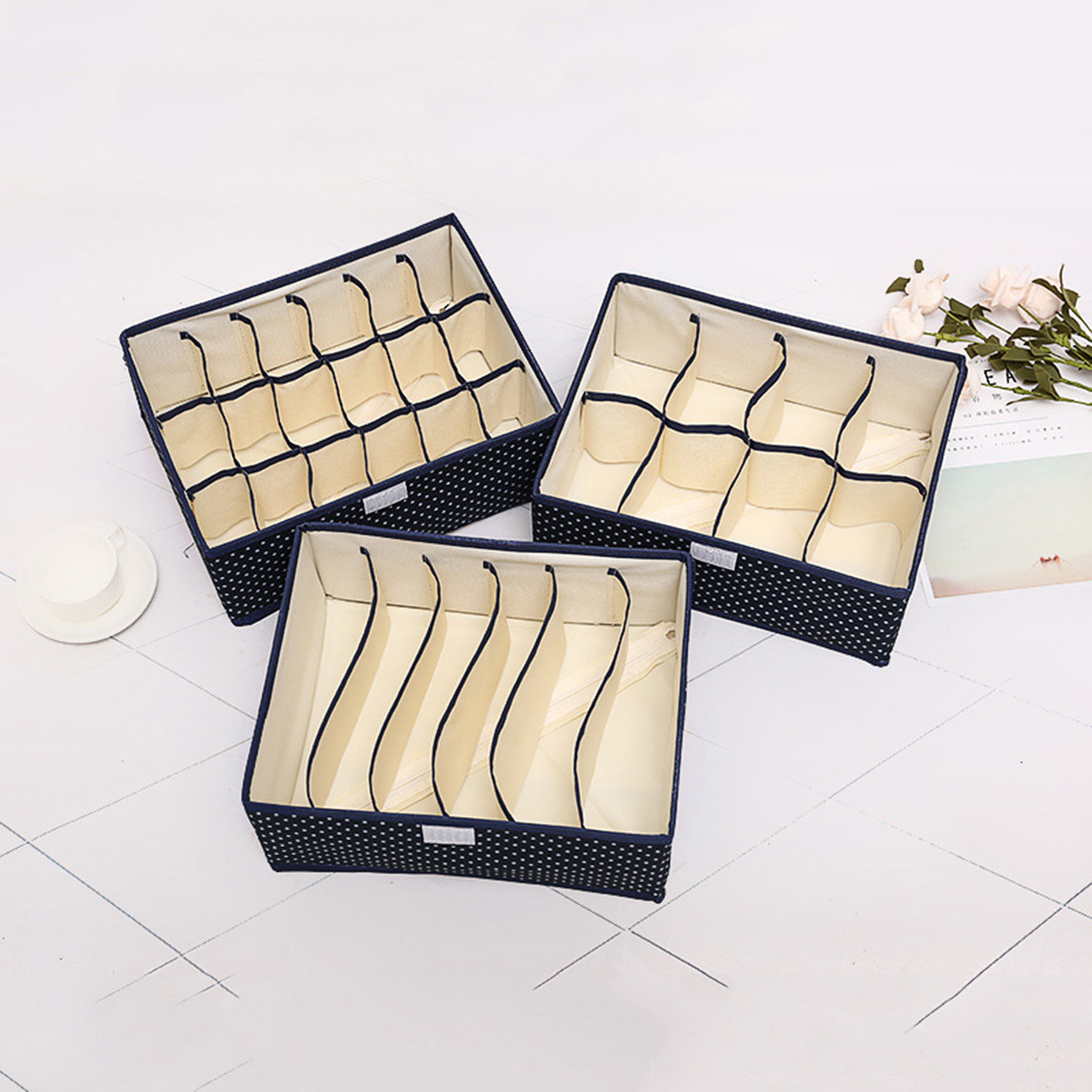 1pcs Foldable Clothing Closet Organizer Home Underwear Storage Boxes For Bra Tie Socks Container Organizers Closet Draw Dividers