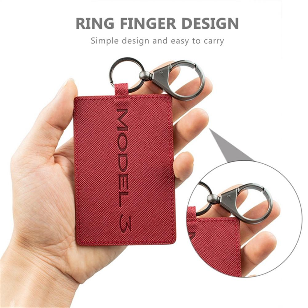 Red Car Leather Key Card Protector Key Bag Key Chain Card Holder Key Cover for Tesla Model 3