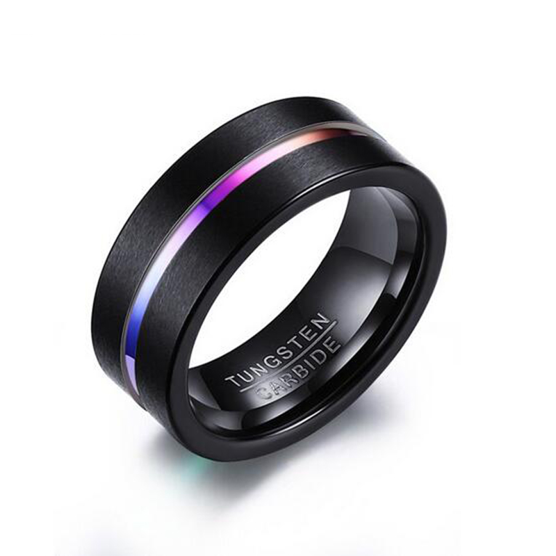 Male Black Ring Quality 8mm Tungsten Carbide Band Ring Heavy Steel Punk Ring for Men punk style titanium steel hollow out ring for men