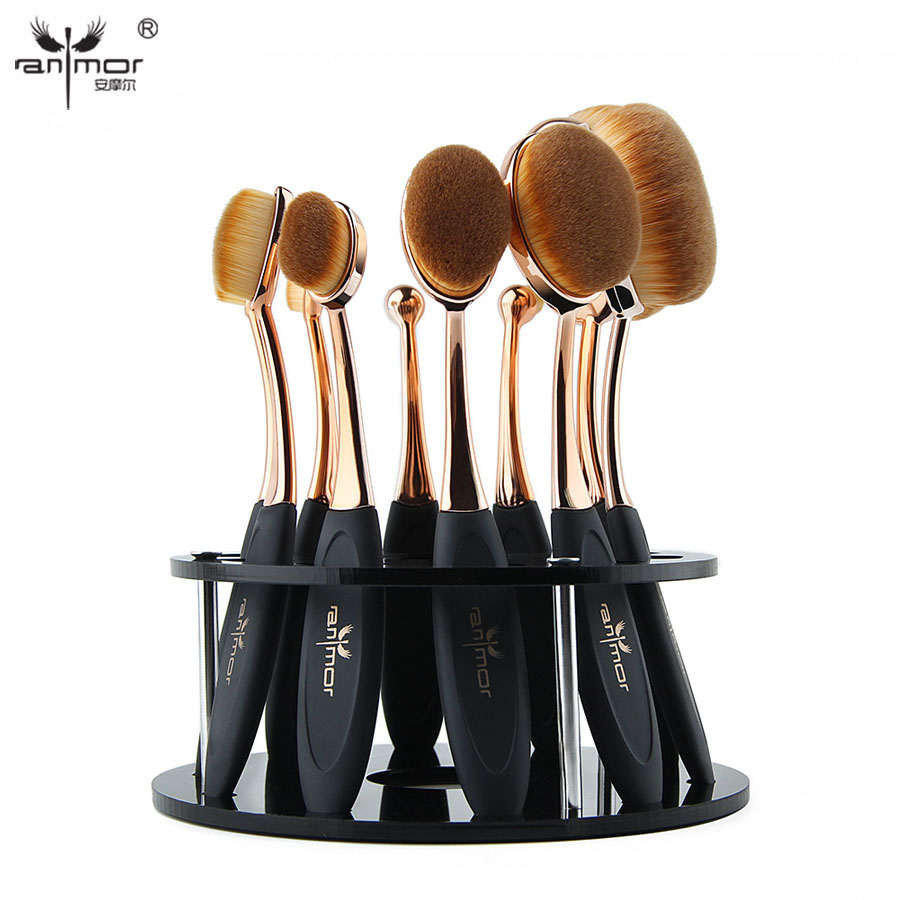 Oval Makeup Brushes Professional 10pcs Oval Brush Set Toothbrush Make Up Brushes with Brush Holder