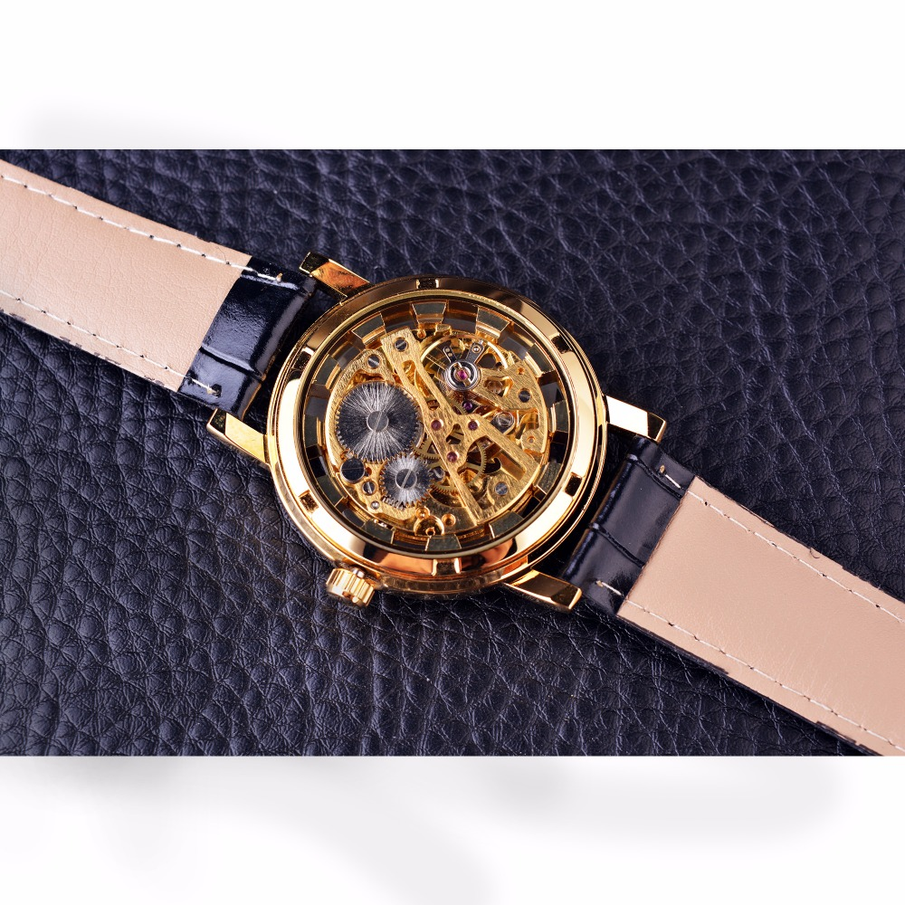 Forsining Chinese Dragon Skeleton Design Transparent Case Gold Watch Mens Watches Top Brand Luxury Mechanical Male Wrist Watch 3