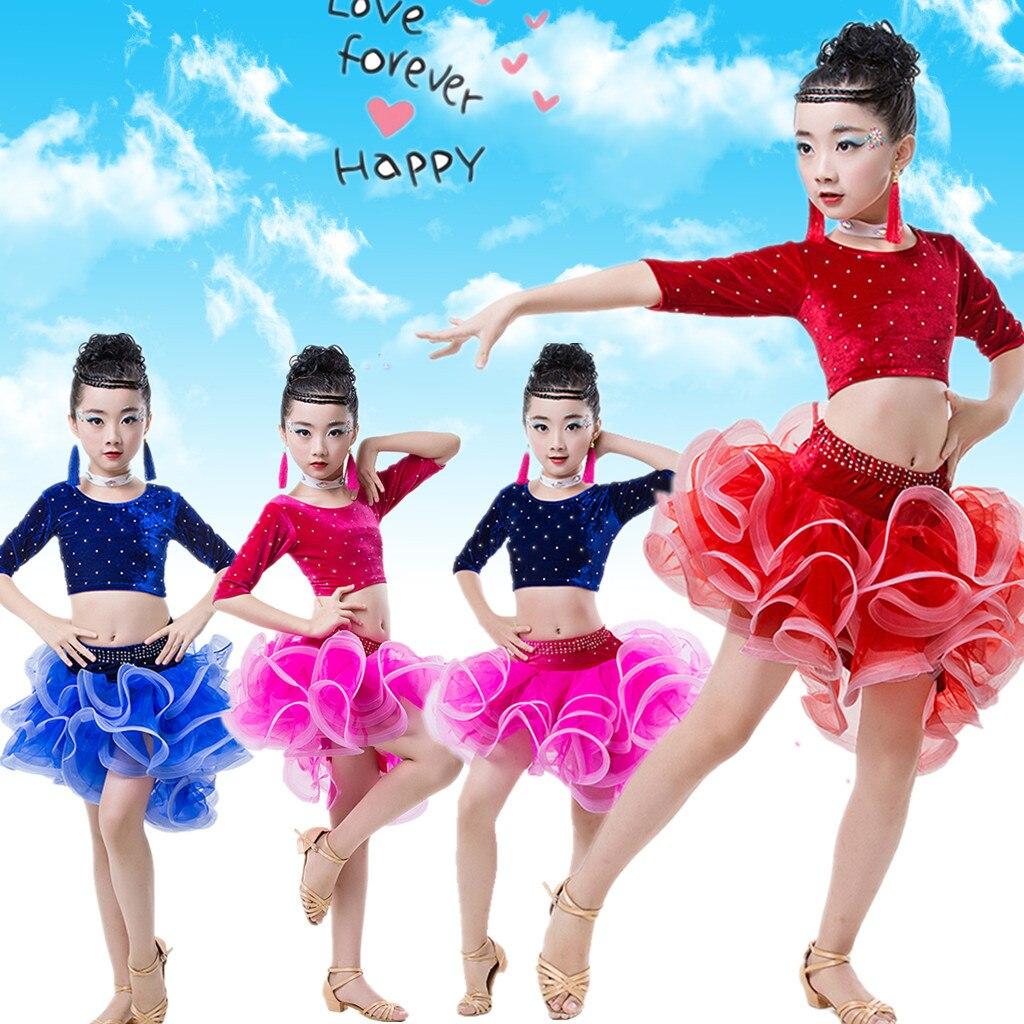 Girls short Sleeves Standard Latin Dance Dress Children Ballroom velvet skirt Dresses Kids Salsa Rumba Cha Cha Samba Tango Dress