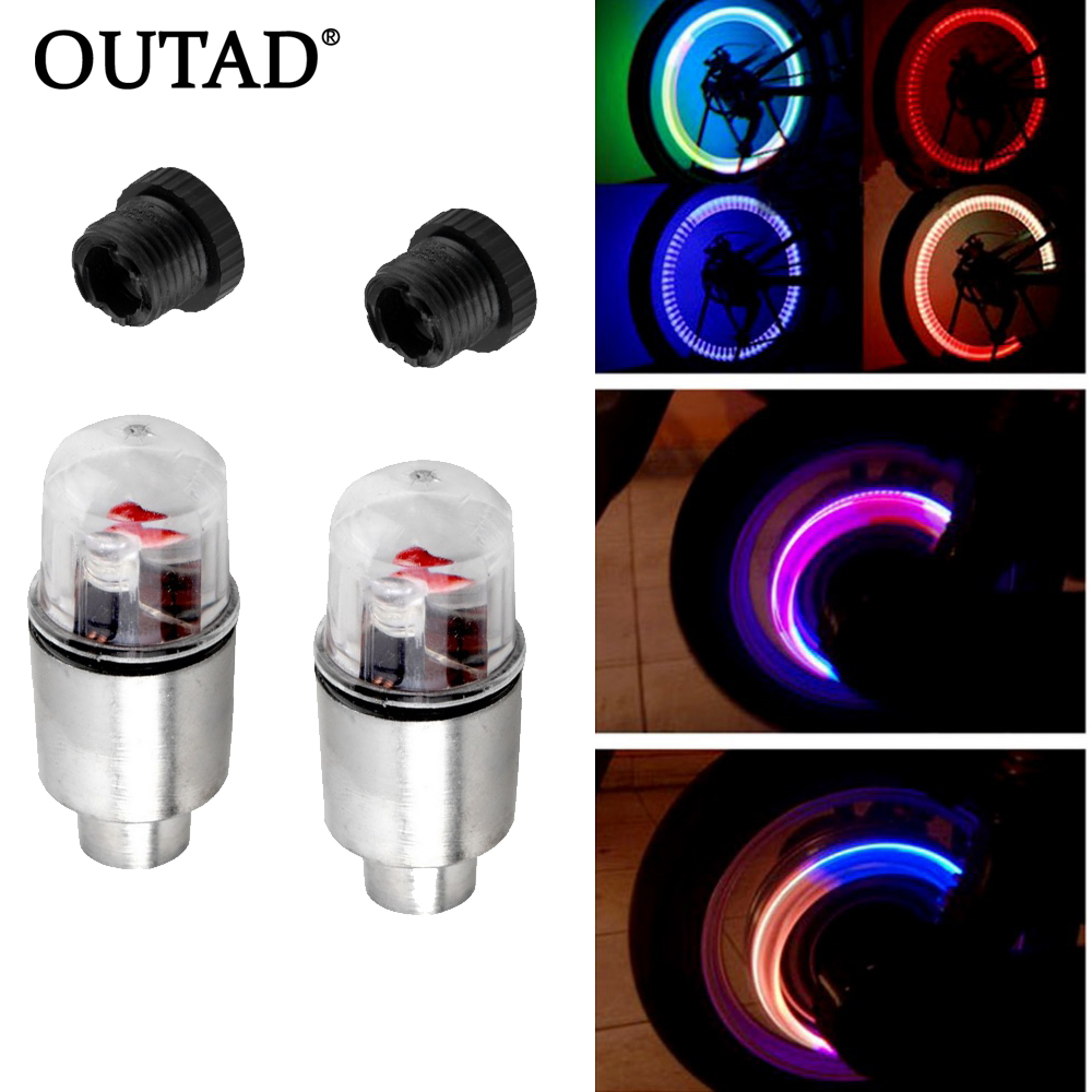 OUTAD 1 Pair Blue LED Motor Cycling Bike Bicycle Car Wheel Tire Valve Lights New Style