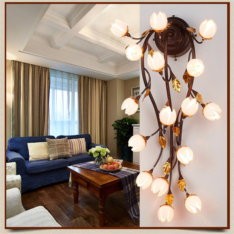 Aliexpress Buy Glass Flowers Leaves Wall Lamps Vintage