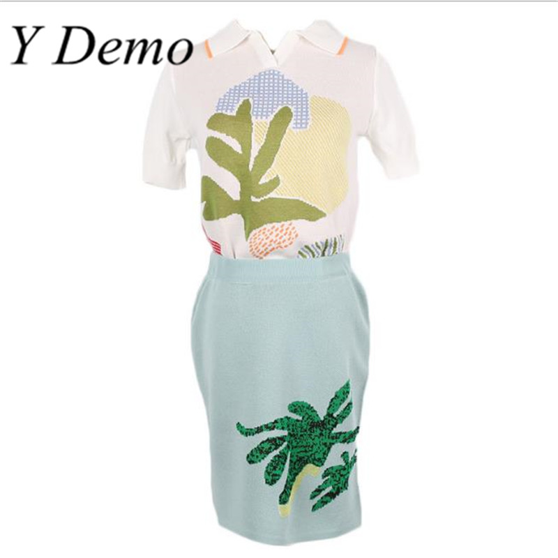 Summer Fashion Knitted Polo Neck Embroidery Shirts + Silm Hip A line Skirts Women Suit
