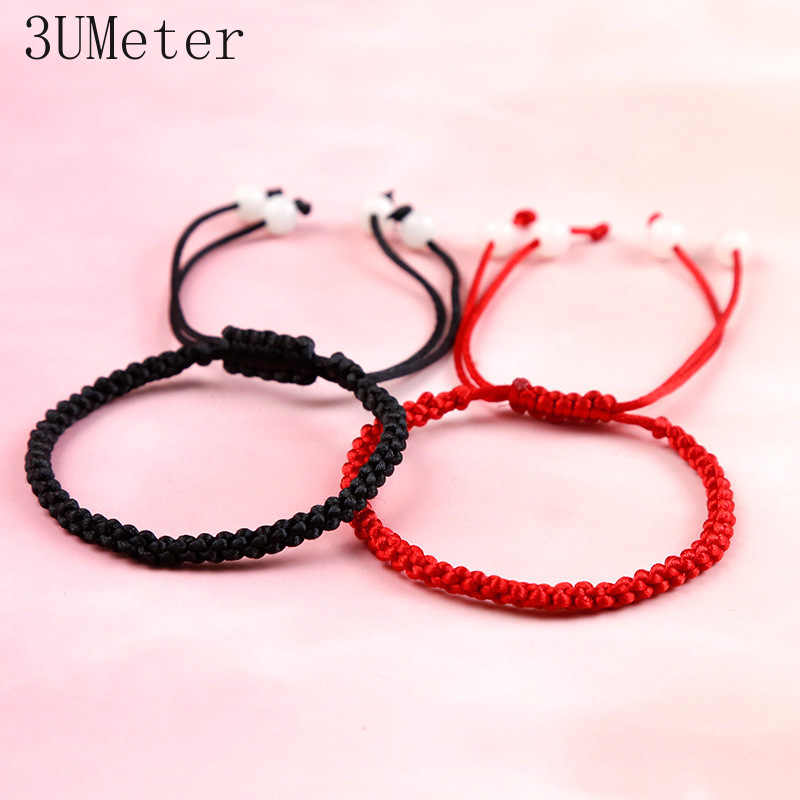 3UMeter Fashion Black Red Bracelet Hand-knitted Simple Red Rope Bracelet Men Women Couple Bracelet Gift Drop Shipping