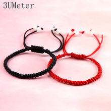 3UMeter Fashion Black Red Bracelet Hand-knitted Simple Red Rope Bracelet Men Women Couple Bracelet Gift Drop Shipping(China)