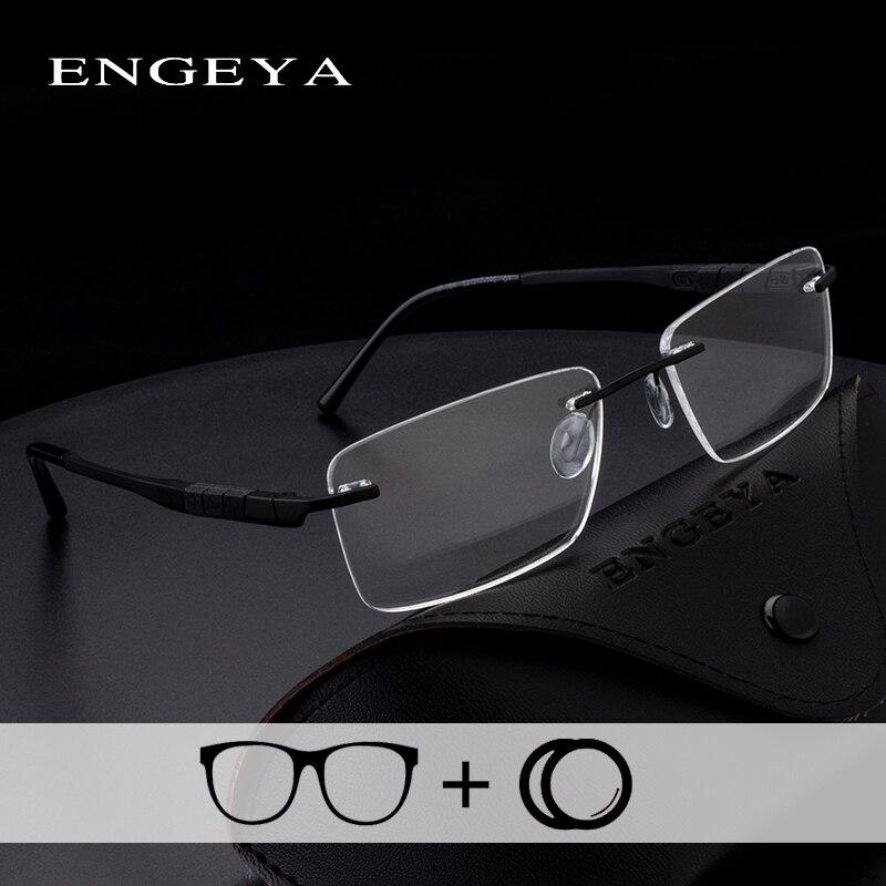 Alloy TR90 Prescription Glasses Clear Fashion Optical Myopia Blue Light Rimless Eyewear For Men Super Light