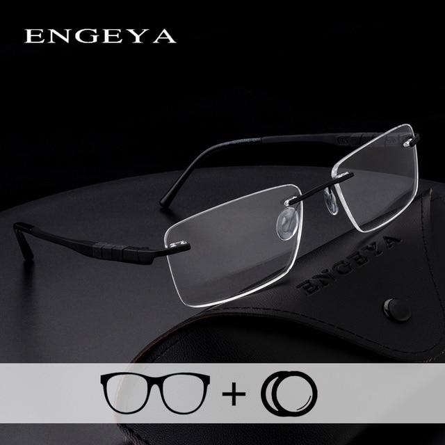 0edca9f381 Alloy TR90 Prescription Glasses Clear Fashion Optical Myopia Blue Light  Rimless Eyewear For Men Super Light