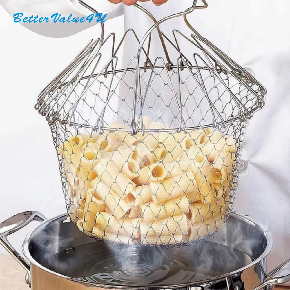 Bettervalue4u Chef Panier En Acier Inoxydable Pliable Rincer À Vapeur Souche Fry Panier Crépine Net Outil de Cuisine Frire Bon/Légumes