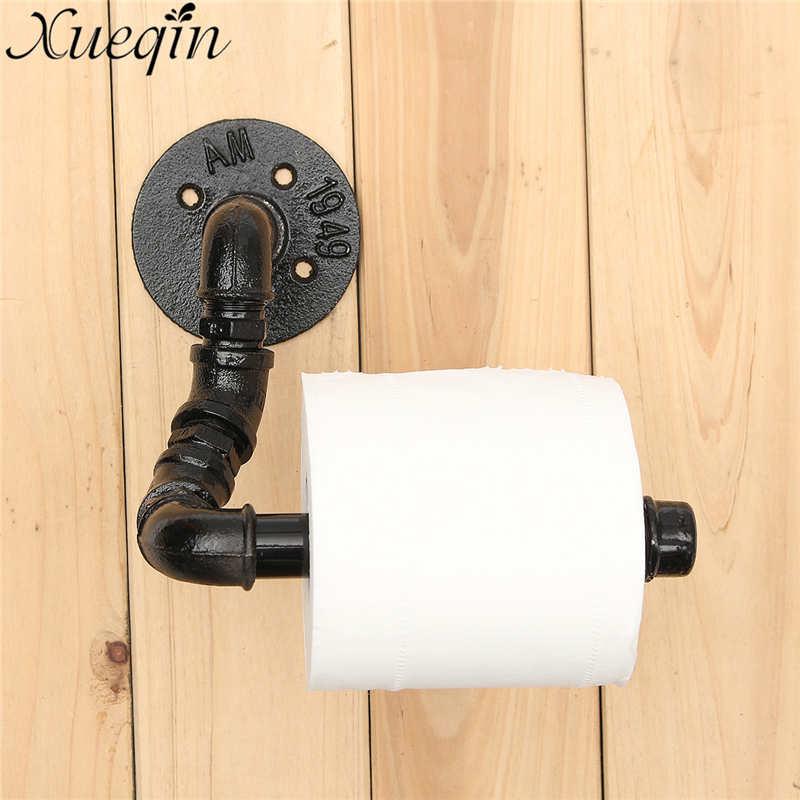 Xueqin Black Home Toilet Tissue Paper Storage Rack Rail Industrial Rustic L Style Metal Bathroom Toilet Roll Paper Holder panda style cute tissue roll box small gadget trash black