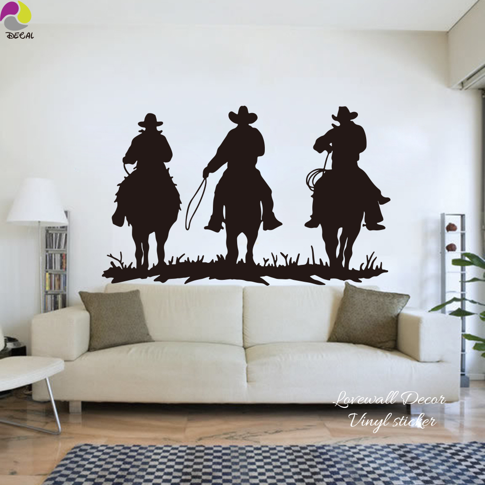 Große Reiten Wandaufkleber Wohnzimmer 3 Cowboy Pferde Mustang ...