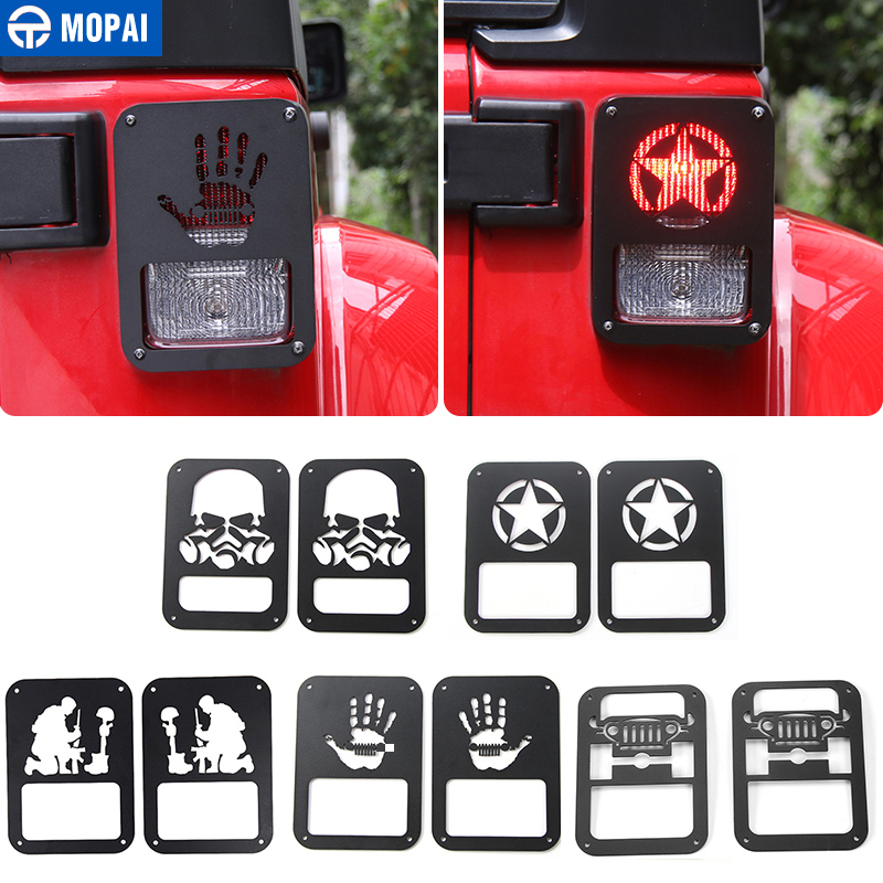 MOPAI Car Rear Tail Light Lamp Cover Protect Exterior Decoration Accessories for Jeep Wrangler 2007 Up Car Styling mopai abs car exterior accessories door handle decoration cover trim stickers for jeep wrangler 2007 up car styling