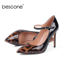 BESCONE Sexy Pointed Toe Ladies Pumps Shallow Dress 10 cm Super High Heel Shoes New Handmade Buckle Thin Heel Women Pumps BY05 pointed toe shallow high heel pumps women pink flower decorated super high thin heel shoes female high heels dress shoes