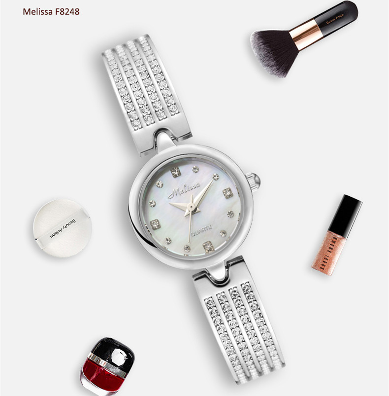 Moda melissa delicado pulseira relógio simples mulher
