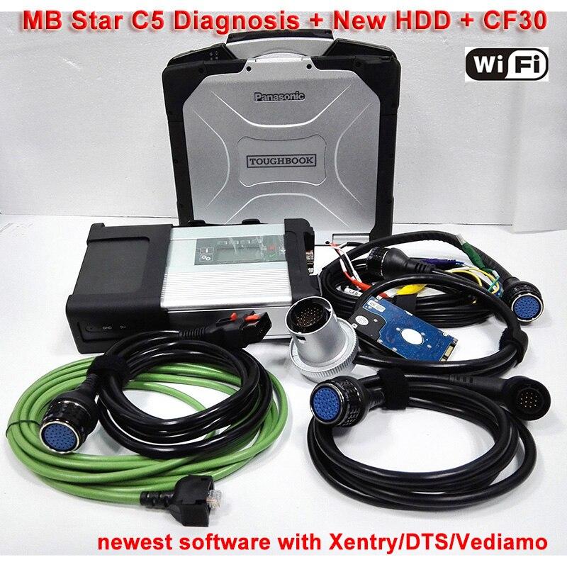 OBD2 MB Star C5 с 3/2018 Программы для компьютера SSD Военная Униформа ноутбука CF30 Xentry/vediamo MB C5 диагностики для грузовых готов чтобы Применение Бесплат...