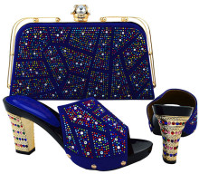 Beautiful royal blue african shoes match handbag set with rhinestone design women pumps set for dress BCH-19,BCH-15,heel 9CM high quality fashion rhinestone slipper shoes and bag set italian style woman shoes and bag set for party dress black bch 19