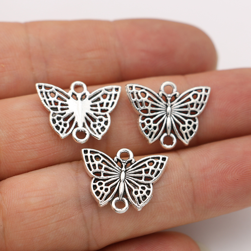 JAKONGO Antique Silver Plated Butterfly Charm Connectors For Making Bracelet Handmade DIY Jewelry Accessories 16x20mm 10pcs