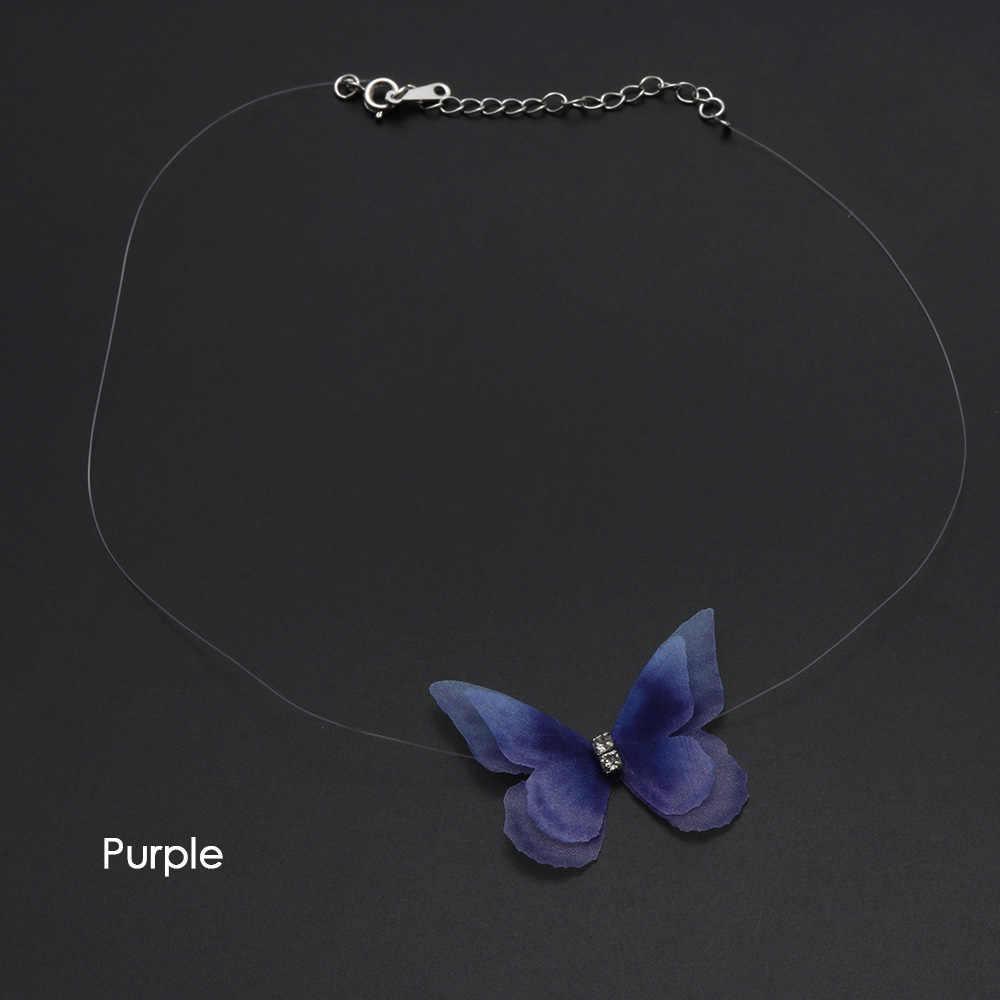 1 Pc nouveau mode femmes cristal coloré 3D fil papillon Chokers Invisible ligne de poisson soie Choker collier bijoux de mode