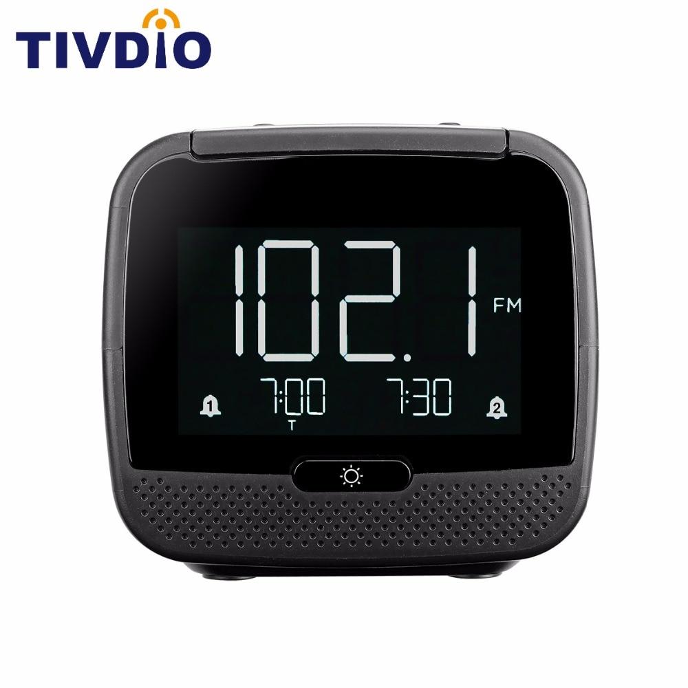 TIVDIO CL-11B Digital Bluetooth Speaker Dual Alarm Clock FM Radio with Sleep Timer Snooze Temperature Display F9209A