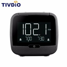 TIVDIO CL-11B Digital Bluetooth Speaker Dual Alarm Clock FM Radio with Sleep Timer Snooze Temperature Display F9209A ihome id95sz silver dual alarm with fm ipod