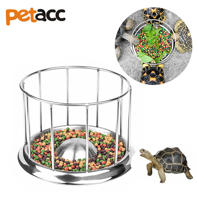 "Petacc 7.5"" Diameter Round Railing Shape Turtle Bowl Stainless Steel Turtle Food Dish Food-grade Reptile Feeder"